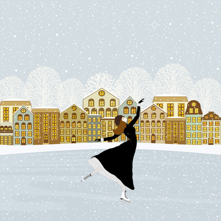 skating rink: Girl skating at the rink in front of the houses Illustration