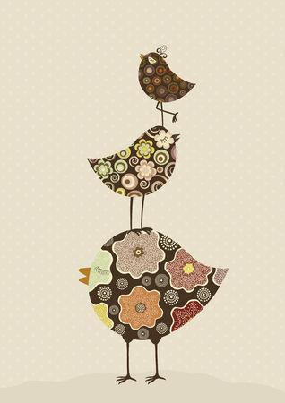 three dots: Three cute floral birds on beige background