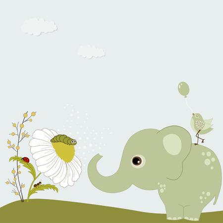 hormiga hoja: Elefante lindo verde con manzanilla y los insectos Vectores