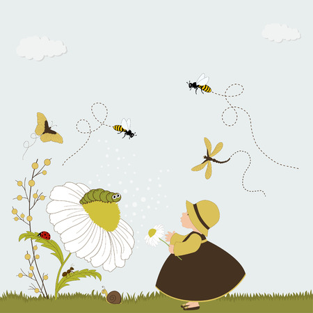 Cute girl in garden with chamomile and insects Vector