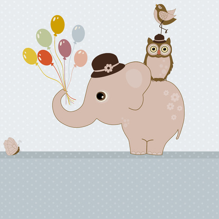 Greeting card with cute pink elephant with balloons, birds and place for text Vector