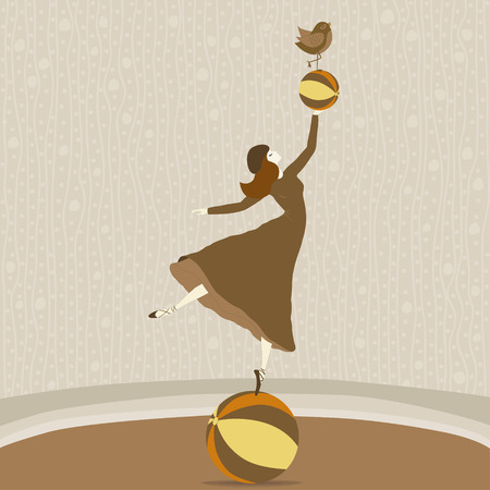 ballerina silhouette: A beautiful dancer on the ball with a ball and a bird Illustration