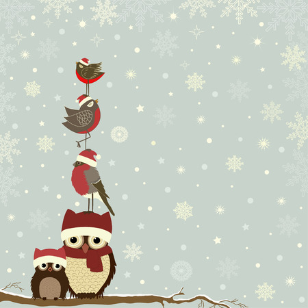Carte de Noël une branche avec les hiboux et oiseaux Banque d'images - 32850267