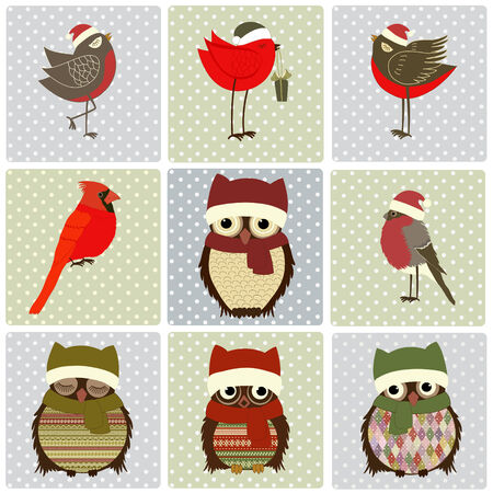 christmas owl: Set of Christmas birds on squares with dots Illustration