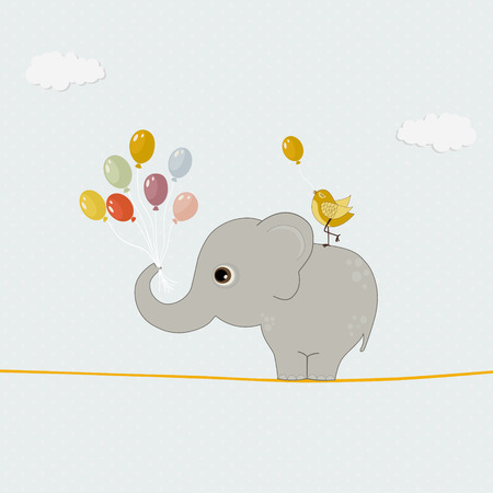 Cute elephant with colorful balloons and bird Vector
