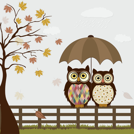 Cute owls on a fence in autumn Vector