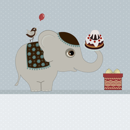 Happy Birthday Card With Elephant And Place For Text Royalty Free