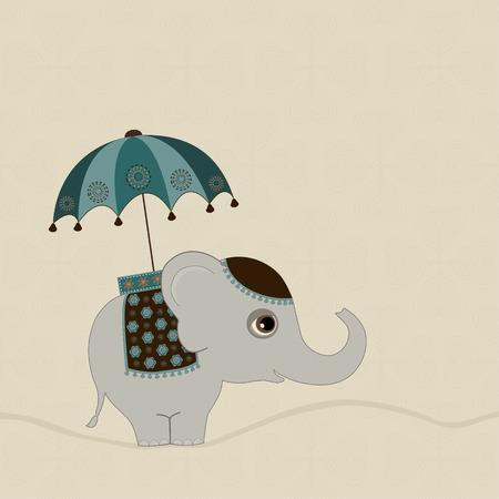 indian elephant: Tarjeta con lindo elefante indio con el paraguas