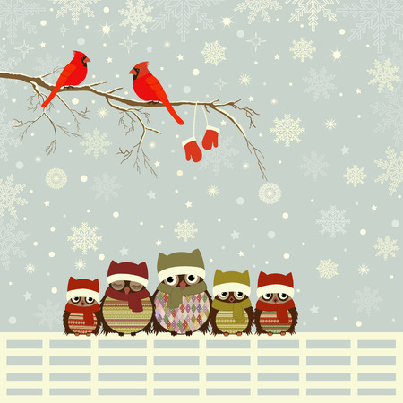 cardinal bird: Christmas card a branch with red birds and family of owls on fence Illustration