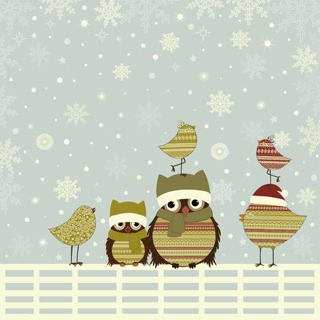 bird: Christmas greeting card with birds on fence