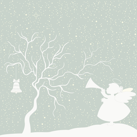 Greeting Christmas card with angel and trumpet Vector