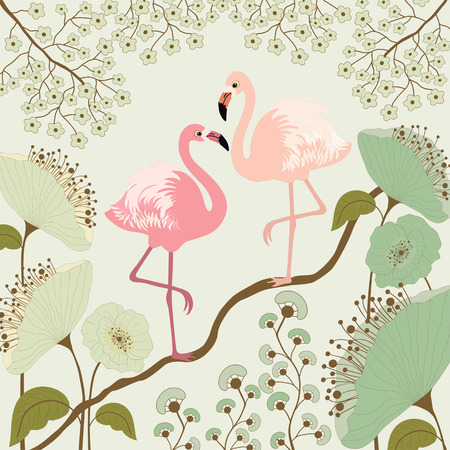 Floral background with pair of flamingos