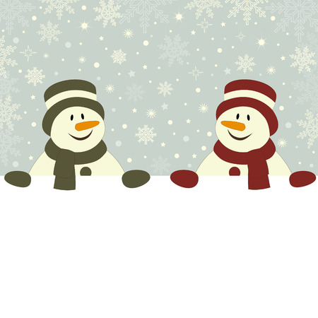 Christmas card with snowmen and place for text Illustration