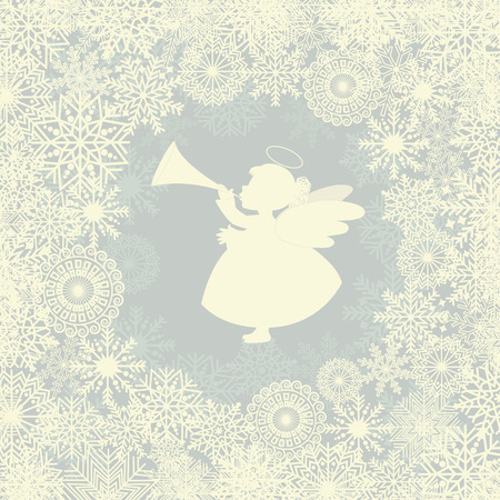 angel white: Christmas card with snowflake and angel with trumpet
