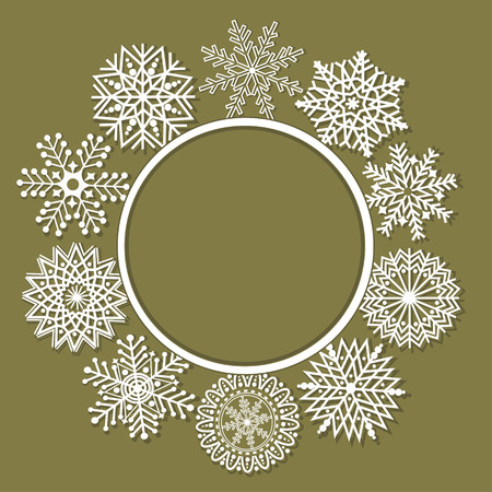 december background: Christmas greeting card with snowflake and place for text Illustration