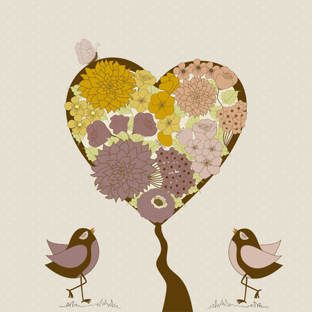 pink and brown: Greeting card with cute bird and tree heart