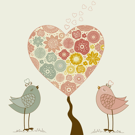 Greeting card with cute bird and tree heart