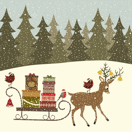 Christmas greeting card with sleigh with gift packs