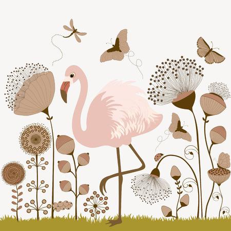 oiseau dessin: Carte avec des fleurs et flamant rose, et les papillons