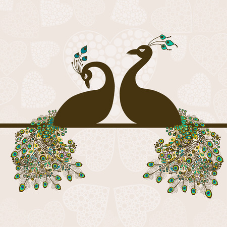 Card with abstract beautiful peacocks Vector