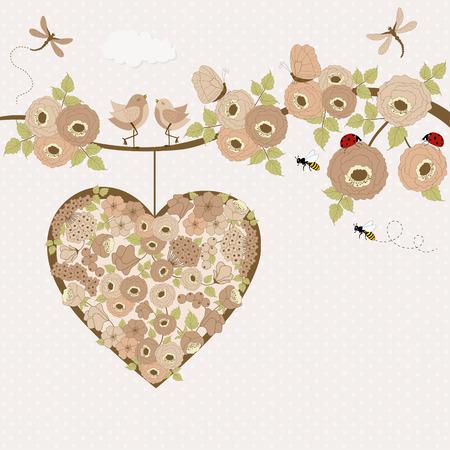 rosas rosadas: P�jaros lindos en una rama con las rosas y el lugar de texto