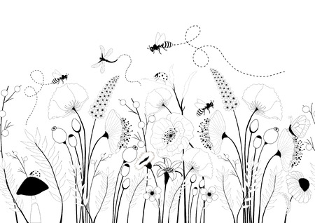 black and white image: Seamless pattern with spring flowers and insects