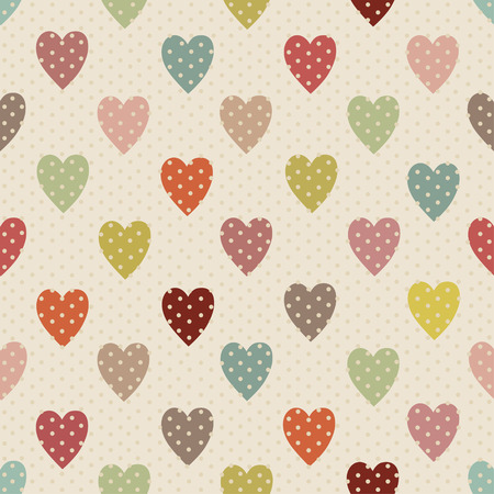 polka dot pattern: Abstract seamless polka dot pattern with colorful hearts