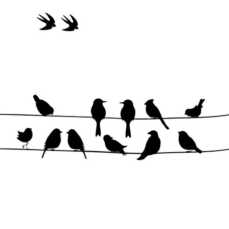Mignon oiseaux noirs sur un fil Illustration