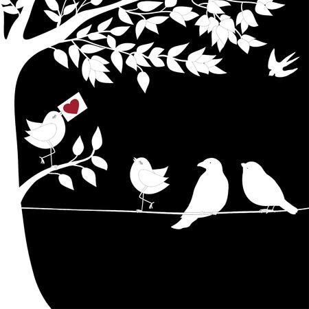 birds on a wire: Cute white birds on a wire, Happy Valentine