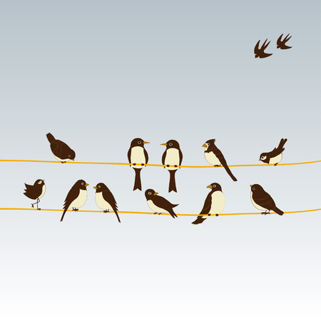 Cute birds on a wire Illustration