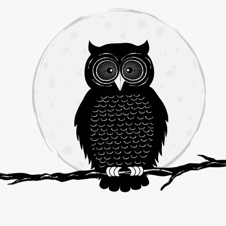 owl eyes: Black owl on branch on white background