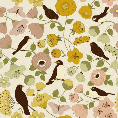 beige background: Seamless floral pattern on beige background
