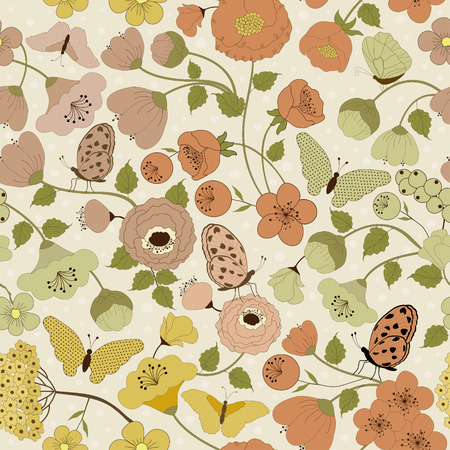 pink flower: Seamless floral pattern with butterflies on beige background