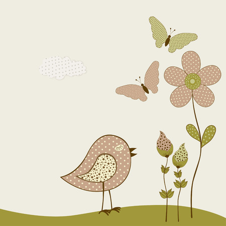 Cute birds and butterflies and flowers. Vector textile stickers