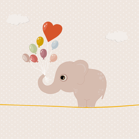 pink elephant: Pink elephant with colorful balloons on a wire. Happy Valentine