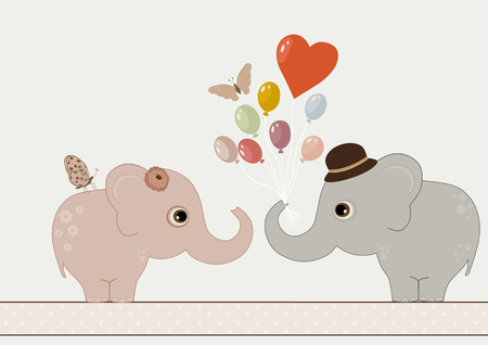 pink backgrounds: Two cute elephants and butterflies. Happy Valentine