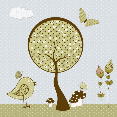 Cute birds with butterflies and tree. Vector textile stickers Vector