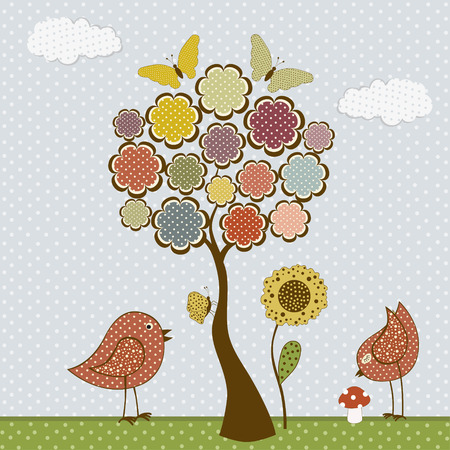 applique flower: Cute birds and butterflies and tree.Vector textile stickers