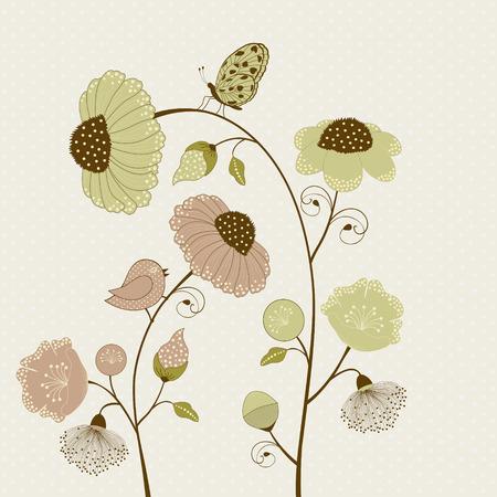 papillon dessin: Carte floral avec des fleurs et des papillons, et oiseaux