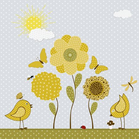 sun flower: Cute yellow bird and butterflies and flowers. Vector textile stickers Illustration