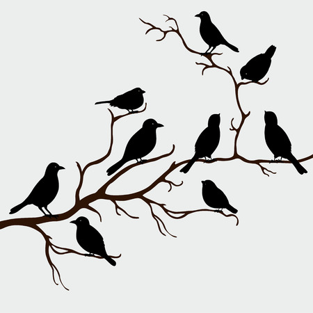 Cute black birds on a branch Ilustracja