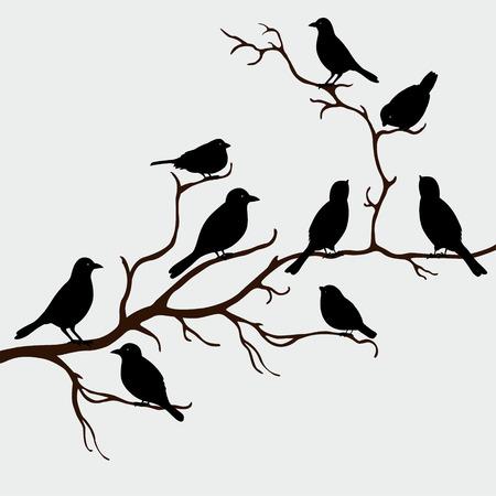 Cute black birds on a branch Stock Illustratie