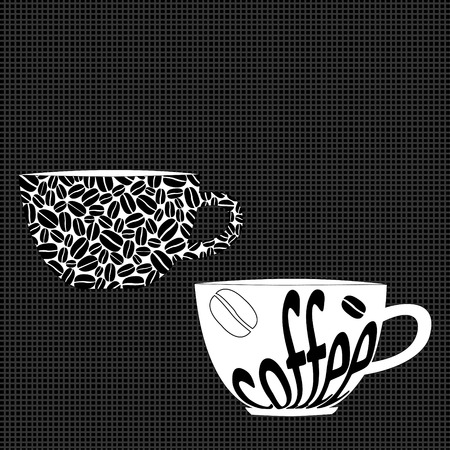 place for text: Stylised coffee cups and place for text Illustration