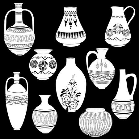 pitcher's: Set of pitchers on black background