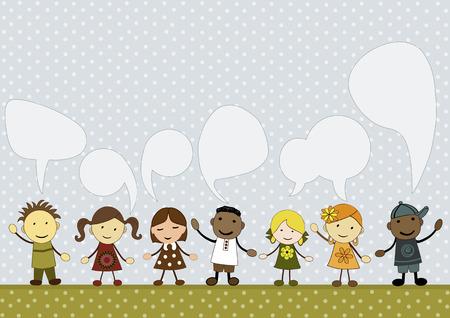 asian children: Cute kids with speech bubbles