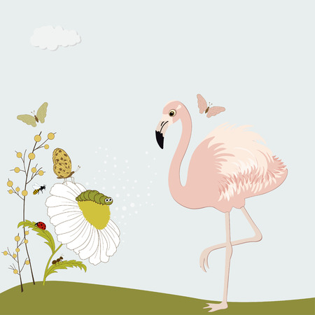 cartoon insect: Cute pink flamingo with chamomile and insects