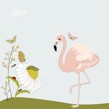 ant cartoon: Flamenco rosado lindo con la manzanilla y los insectos Vectores