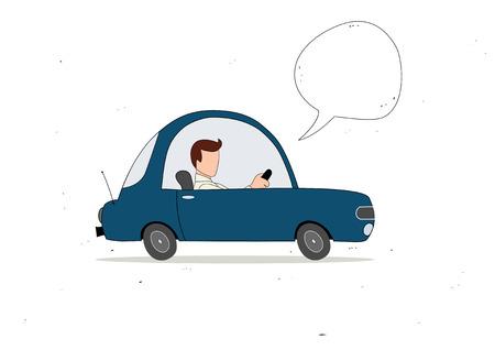 Conductor de coche de la historieta sencilla azul con la burbuja del discurso Vectores