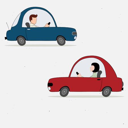 Ilustración vectorial con dos conductores coches de dibujos animados Vectores