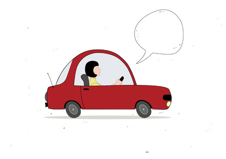 woman driving: Woman driving with speech bubble